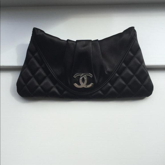 705bd560e6cb CHANEL Handbags - Chanel Half Moon Satin Black Clutch